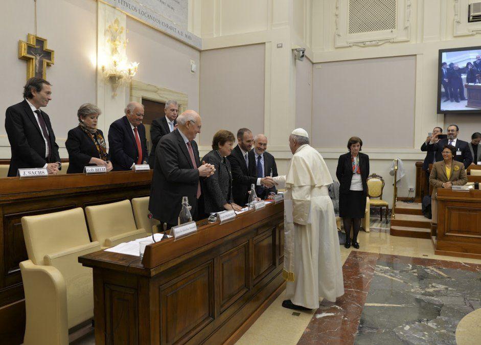 El Papa participó del Seminario Nuevas Formas de Solidaridad.