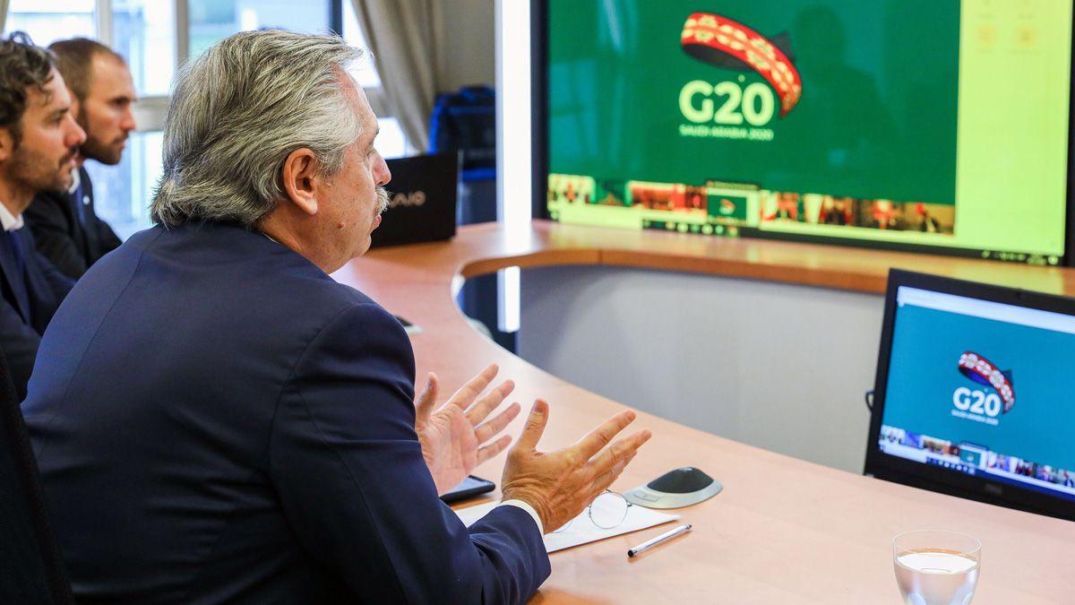 El presidente Alberto Fernández habló ante líderes del G20.