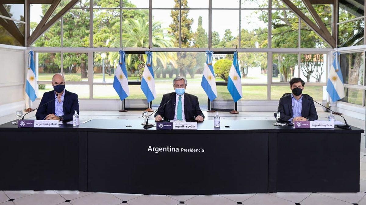 El presidente Alberto Fernandez junto a  Horacio Rodriguez Larreta y Axel Kicillof  en residencia de Olivos para realizar los anuncios sobre la continuidad de la cuarentena.