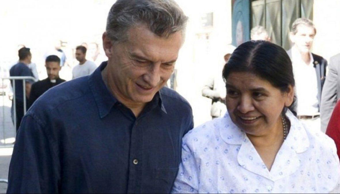 Margarita Barrientos junto al ex presidente de la Nación