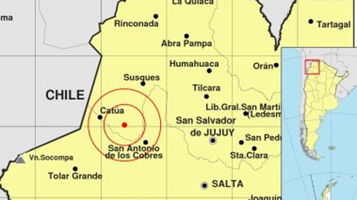 El sismo ocurrió en la provinica de Jujuy.
