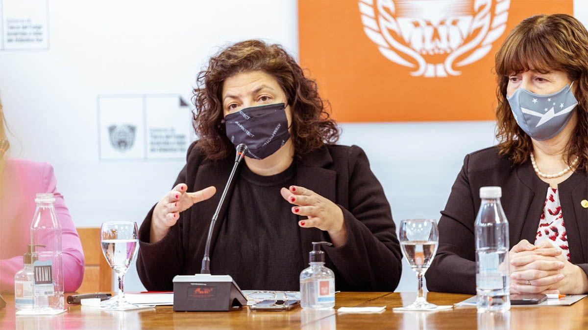 La ministra Carla Vizzotti encabezó una conferencia de prensa en Tierra del Fuego
