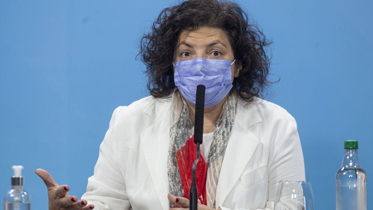 La ministra Vizzotti anunció resultados de la combinación de vacunas.