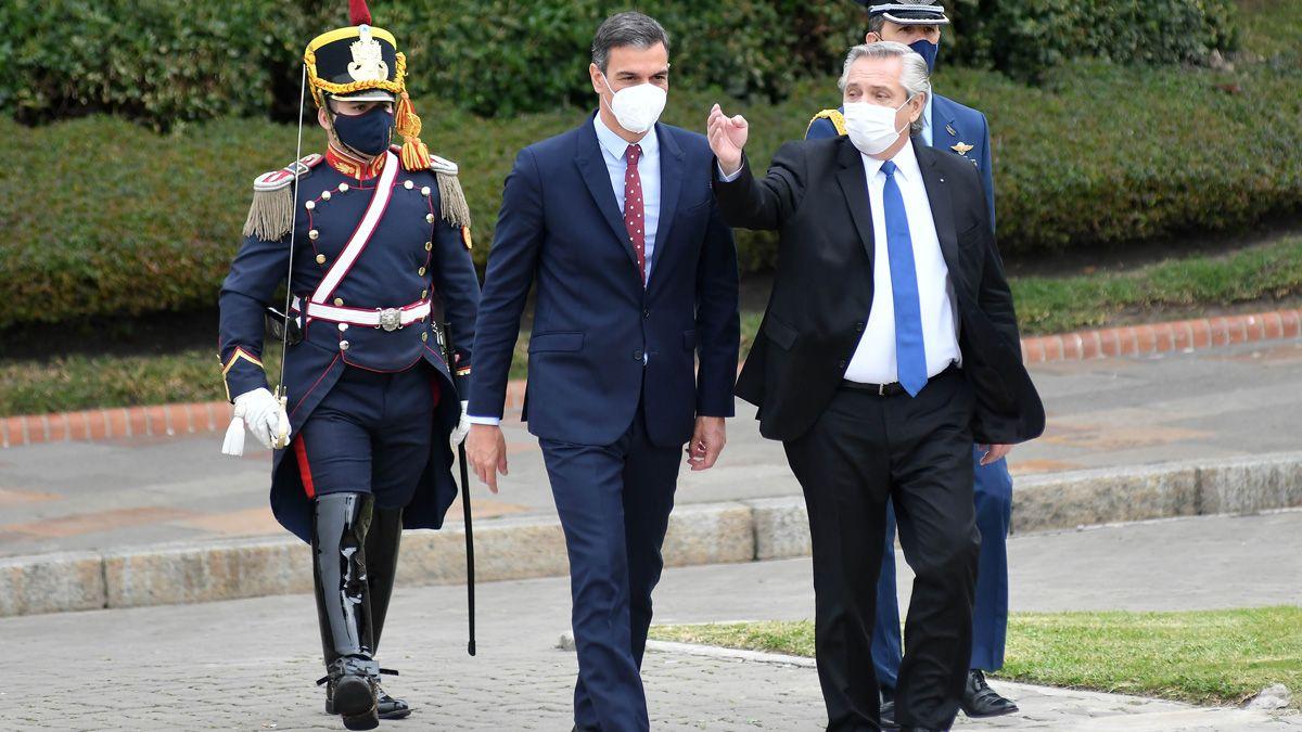 Alberto Fernández recibió en la Casa Rosada al presidente del gobierno español
