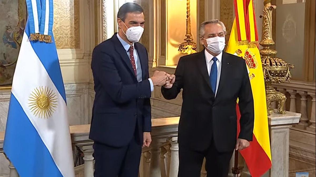 El presidente Alberto Fernández y su par del Gobierno de España